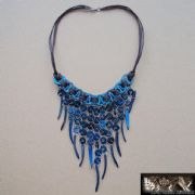 Hand Made Native Style Necklace In Blue or Black